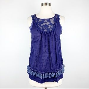 Anthropologie Floreat Embroidered Tassel Top XS
